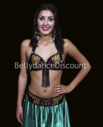 Bellydance bra + belt set black and gold