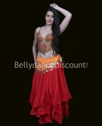 Red belly dance skirt with...
