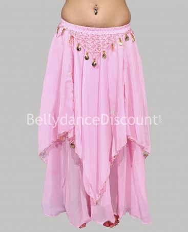 Light pink belly dance skirt with lining