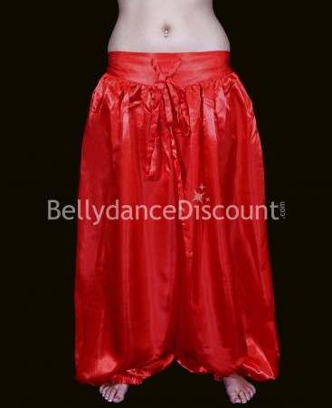 Pantalon de danse orientale et Bollywood satin rouge