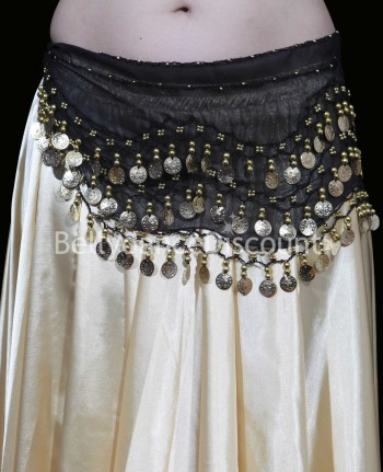 Black belly dance belt with golden sequins