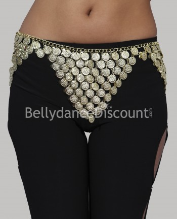 Bellydance metal belt gold sequins