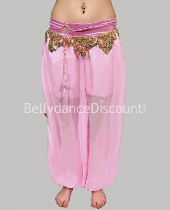 Pantalon large de danse orientale rose pâle (Second choix)