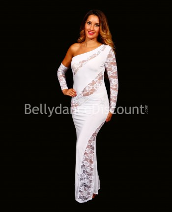 Asymmetric Bellydance lace dress white