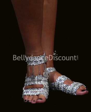 Bellydance flip-flops with silver sequins