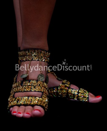 Bellydance flip-flops with gold sequins