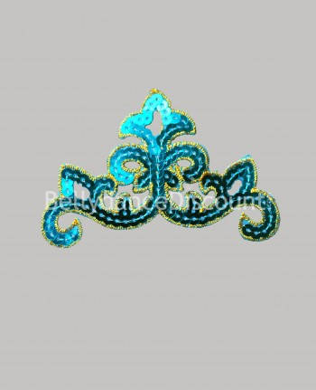 Oriental sew-on pattern light blue