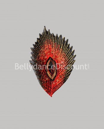 Sew-on feather pattern red