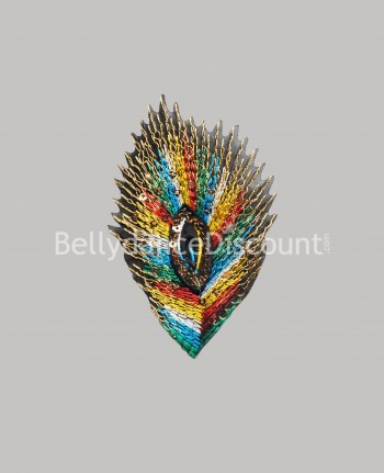 Sew-on feather pattern multicolor