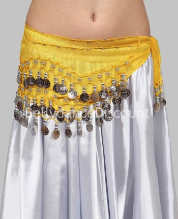 Yellow belly dance belt with silver coins