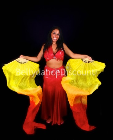 Red orange yellow belly dance fans