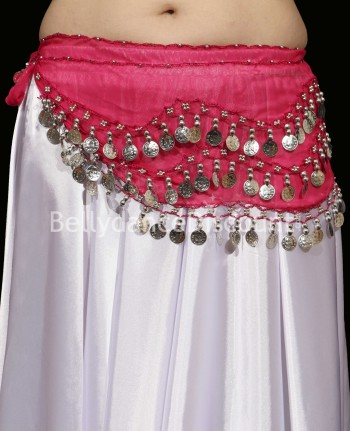 Fuchsia belly dance belt with silver coins