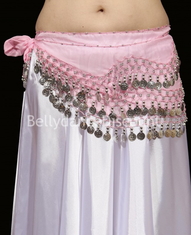 Light pink belly dance belt with silver coins