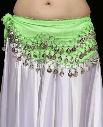 Green belly dance belt with silver coins