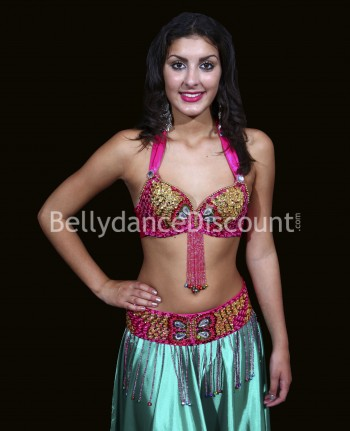 Bellydance bra + belt set fuchsia and gold
