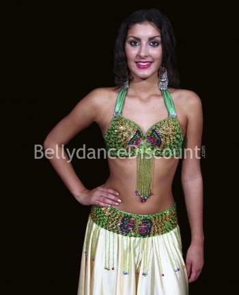 Bellydance bra + belt set green and gold