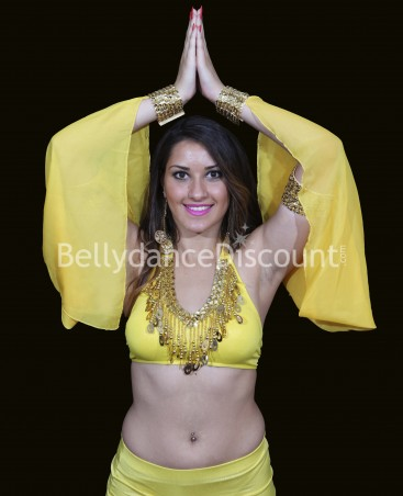 Bellydance veiled sleeves yellow