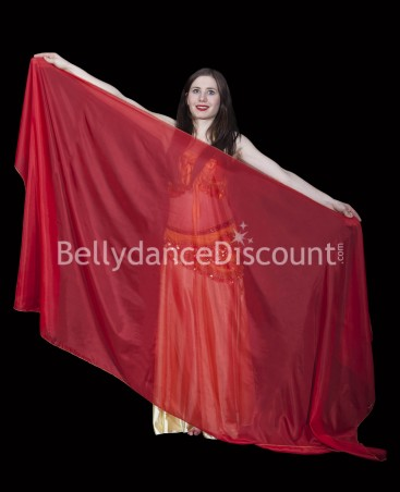 Red rectangular oriental dance veil