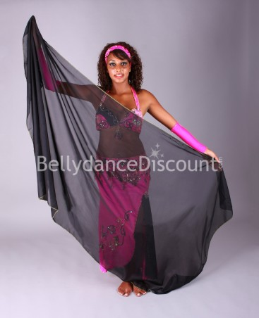 Black rectangular oriental dance veil