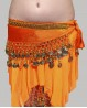 Ceinture enfant de danse orientale velours orange et or