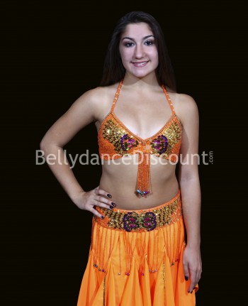 "Set de danse orientale enfant top + ceinture ""papillon"" orange"