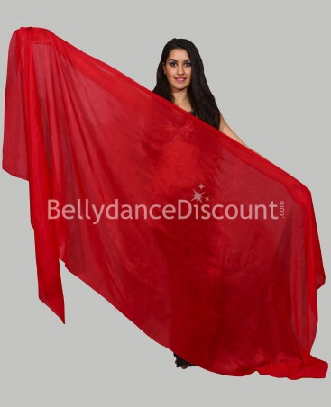 Red rectangular  pure silk oriental dance veil