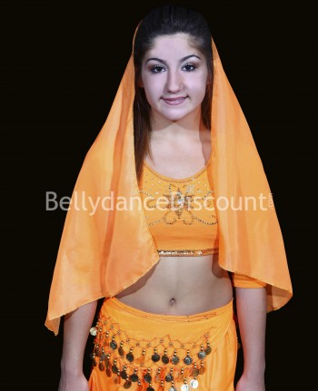 Voile de tête enfant de danse Bollywood orange