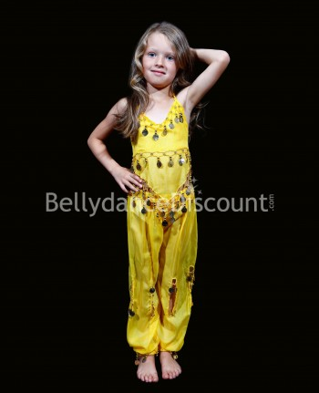 Yellow belly dance children's costume