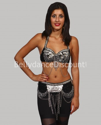 Silver tribal bellydance bra + belt set
