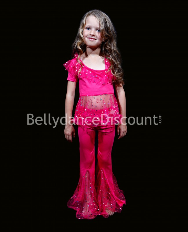 Child glittery fuchsia dance outfit