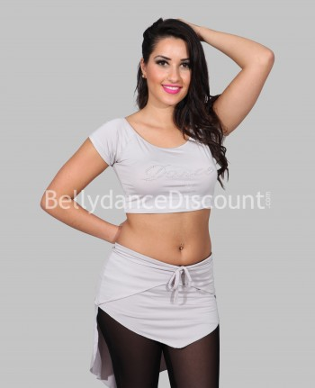 "Top + jupette gris strass ""Dance"""