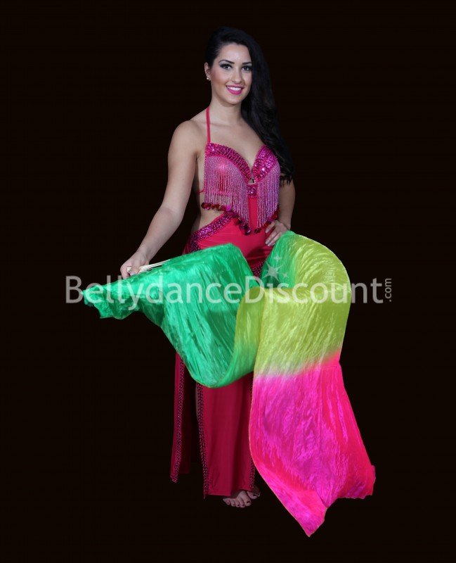 Green yellow fuchsia left hand Bellydance fan