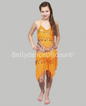 Costume enfant de danse orientale orange