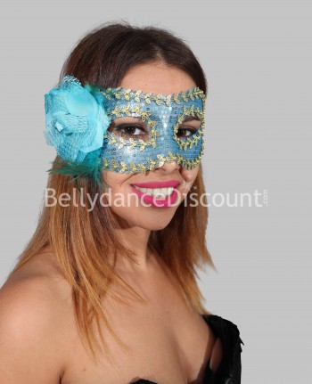 Flower mask light blue and gold