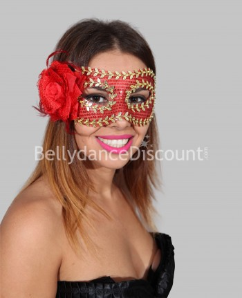 Flower mask red and gold
