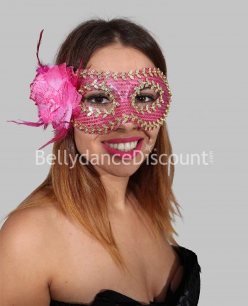 Flower mask fuchsia and gold