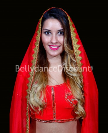Red Bollywood dance veil
