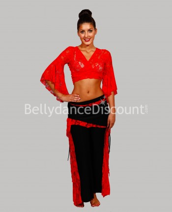 Lace outfit red for dance classes