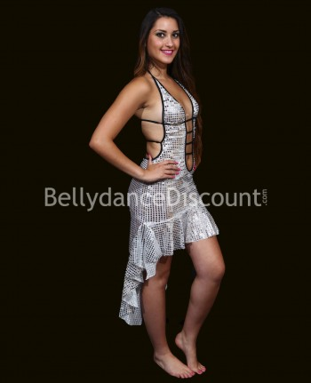 Shiny Latin Dance dress silver