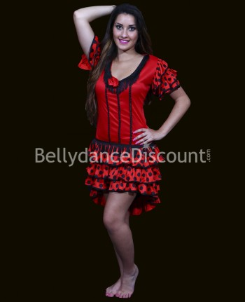 Short flamenco dance dress red