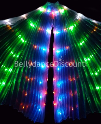 Illuminated Oriental dance Isis wings with multi-colored LED