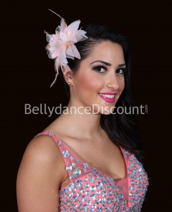 Coral Bellydance flower for hair