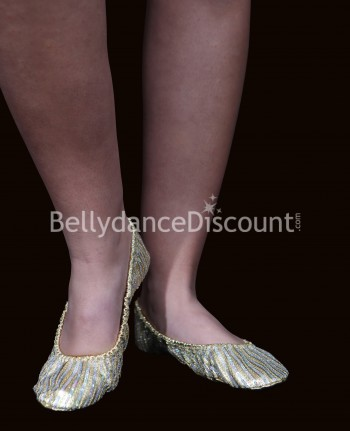 Gold-silver glittery ballet shoes