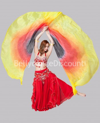 "Isis wings ""sleeves"" 100% silk yellow-red-black"