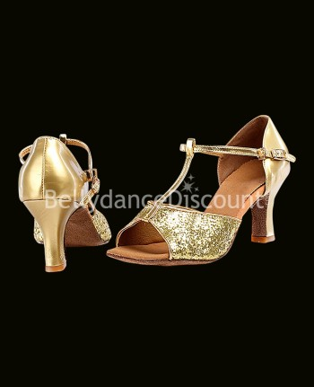 Dance shoes gold and glitters