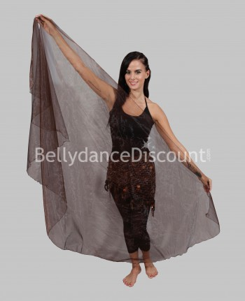 Transparent rounded Bellydance veil brown
