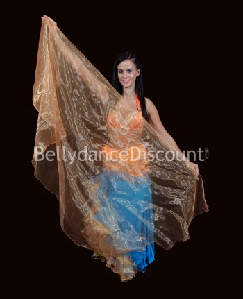 Voile circulaire de danse orientale transparent orange