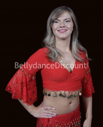 Bellydance wrap-over top red sequins and lace