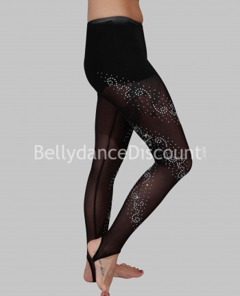 Legging de danse transparent noir à strass
