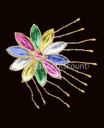 Gold and multicolor sew on Flower